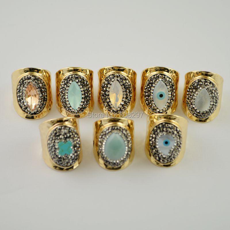 Mode 5 pièces or mixte Style pavé strass cristal anneaux bijoux trouver