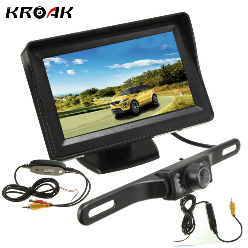 Car LCD Monitor 4.3 Car Rearview Camera 640*480 Wireless Transmitter Rear View Night Vision Reverse Backup Camera 12V