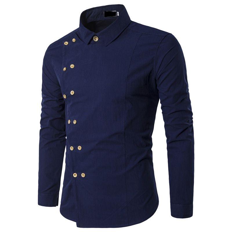 Hot 2017 Fashion Mens Long Sleeve Tuxedo camisa social masculina Shirts Slim fit Casual Double breasted gentleman Men Shirt