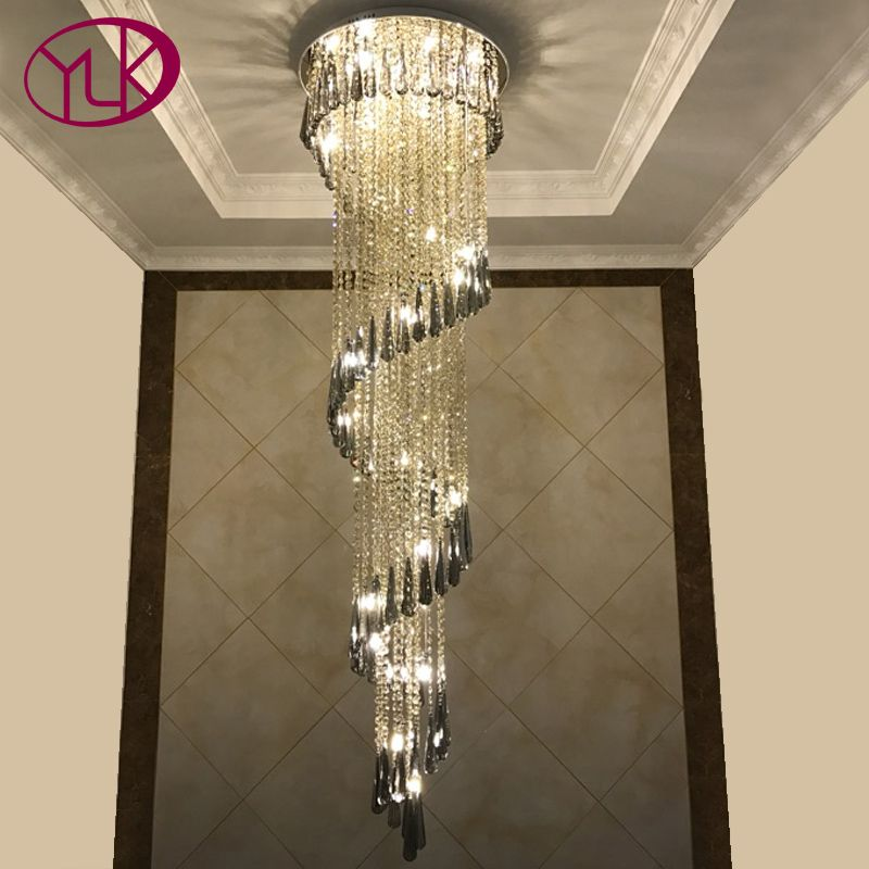 Youlaike Modern Chandelier Lighting Staircase Smoke gray Crystal Lamp Spiral Design Home Decoration Lighting Fixtures