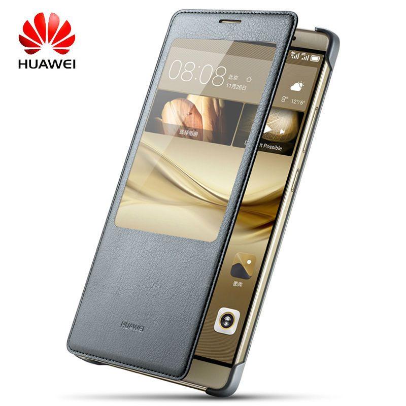 Huawei Mate8 étui à rabat de luxe Original silicone dur 360 cuir Mate 8 mat arrière fenêtre intelligente vue coque en métal plastique