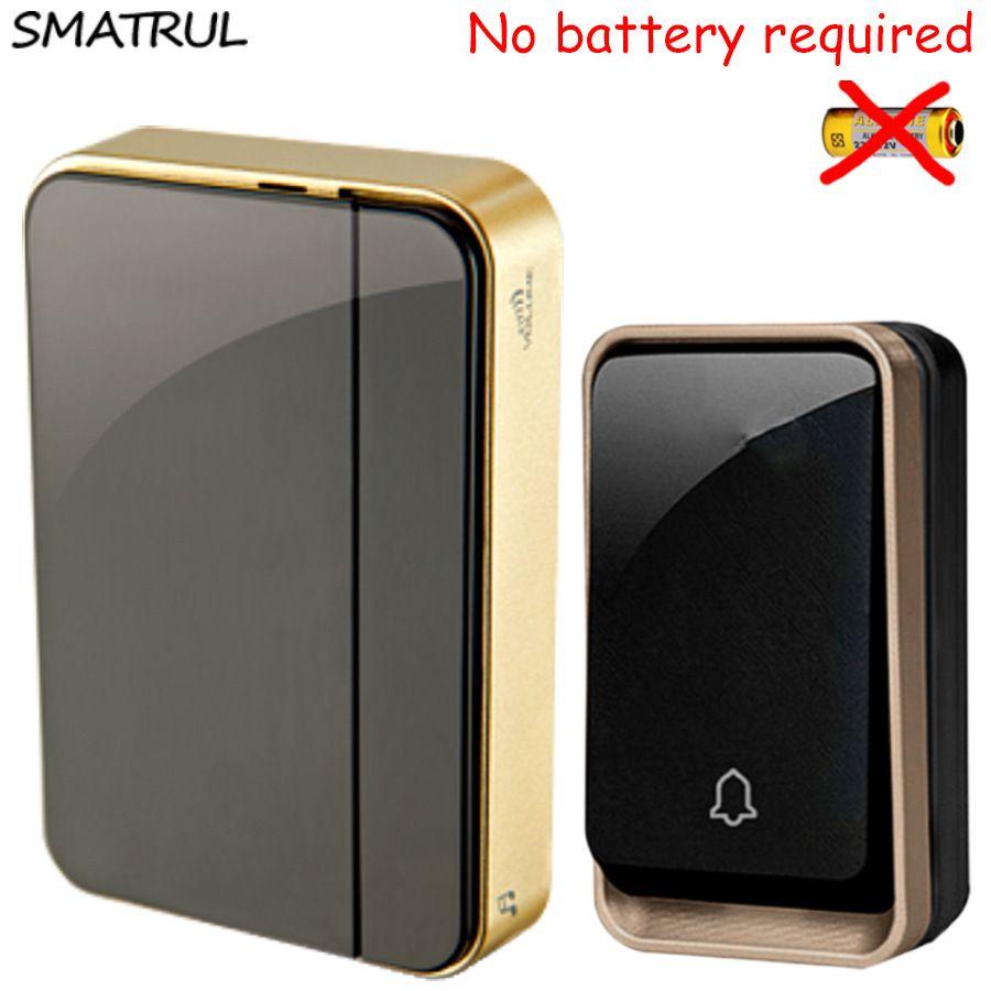 SMATRUL <font><b>self</b></font> powered Wireless DoorBell Waterproof no battery EU plug smart Door Bell chime 110-220V 1 2 Transmitter 1 2 Receiver