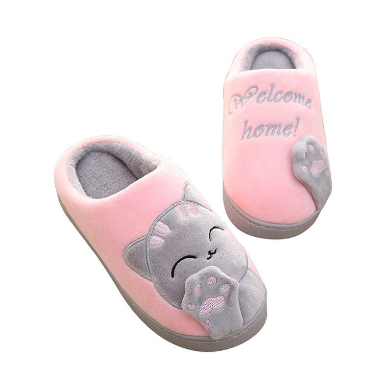 Frauen Winter Herbst Warme Plüsch Hause Hausschuhe Cartoon Glückliche Katze Schuhe Non-Slip Weiche Hausschuhe Indoor Schlafzimmer Paar Boden schuhe