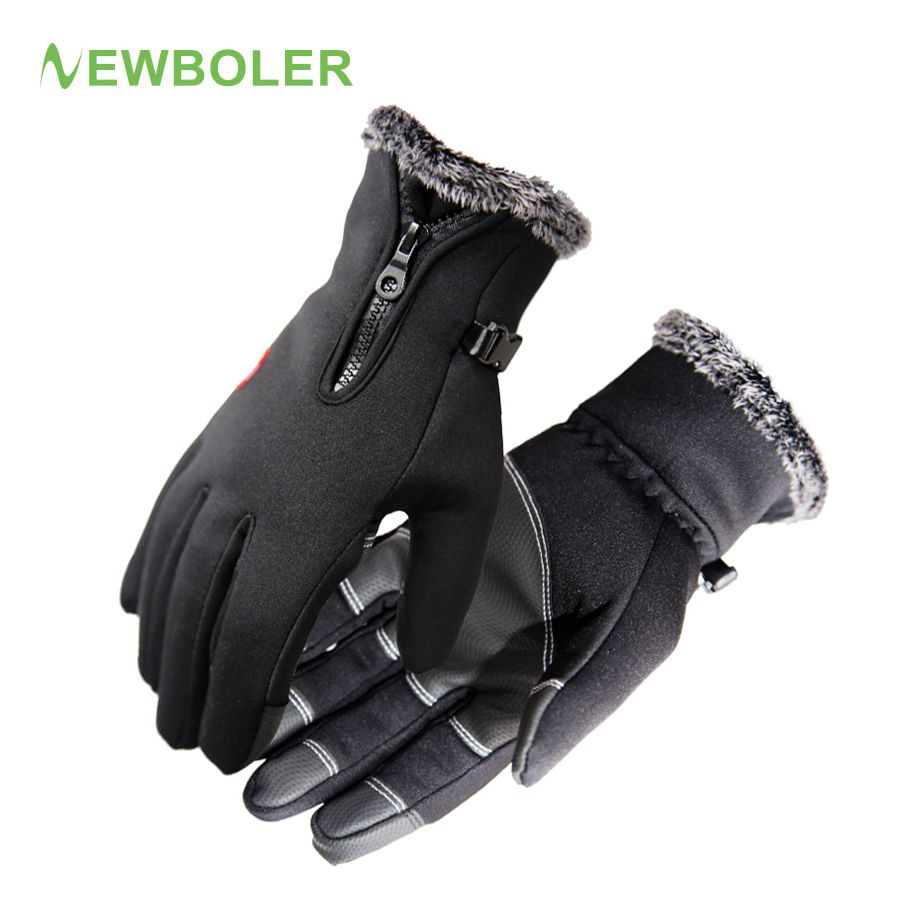NEWBOLER Bicycle Gloves Winter Thermal Windproof Keep Warm Full Finger Man Woman Glove Anti-slip MTB Road Bike Gloves