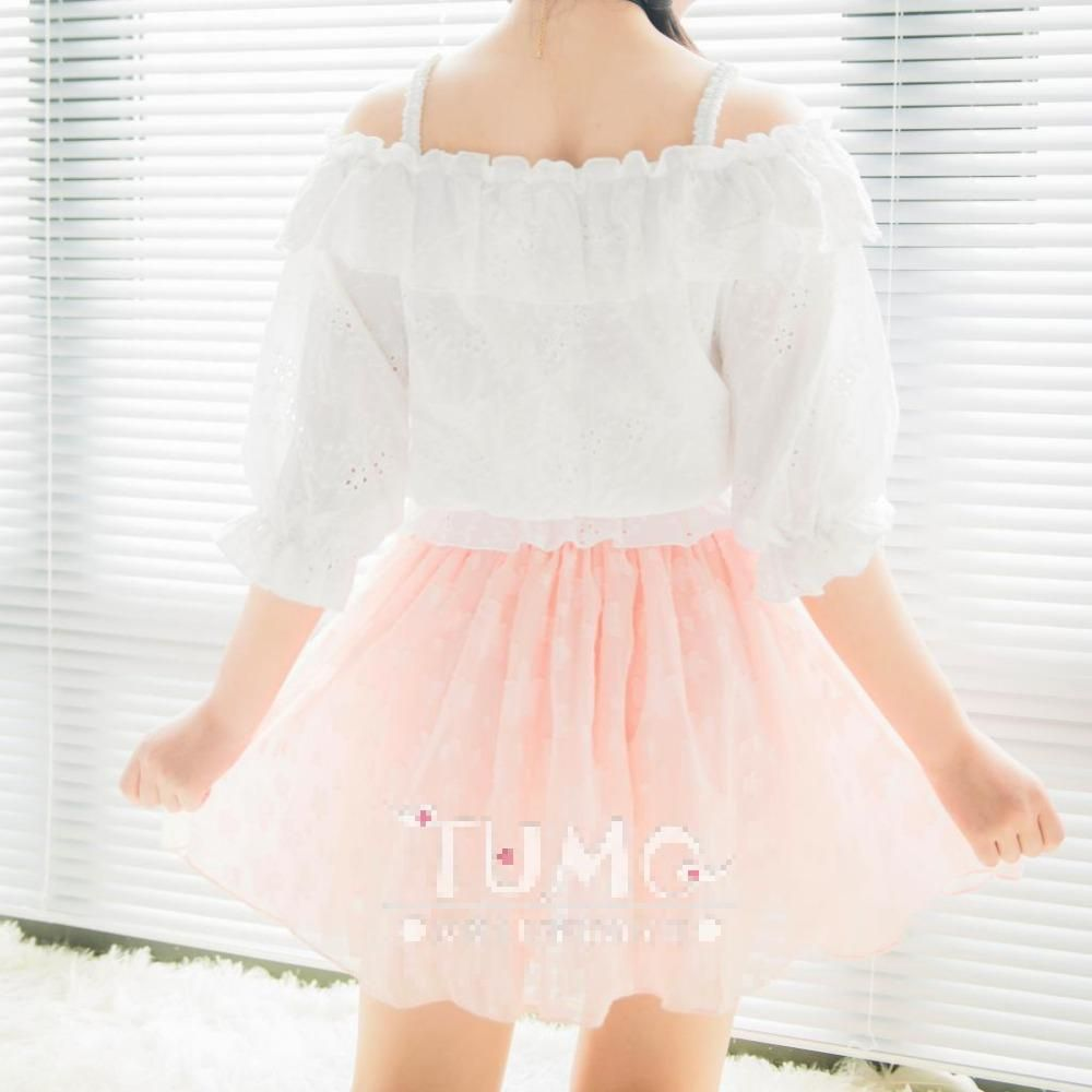 CARDCAPTOR SAKURA Pink Sakura Skirt Lolita Women White Cute Sweety Skirt