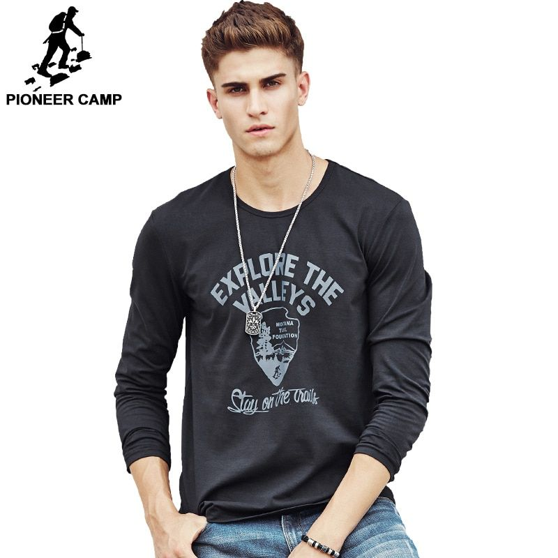 Pioneer Camp men Hot T shirt fashion brand clothing Men's Long Sleeve T Shirt Cotton Elastic Casual T-Shirt Male 4XL plus size