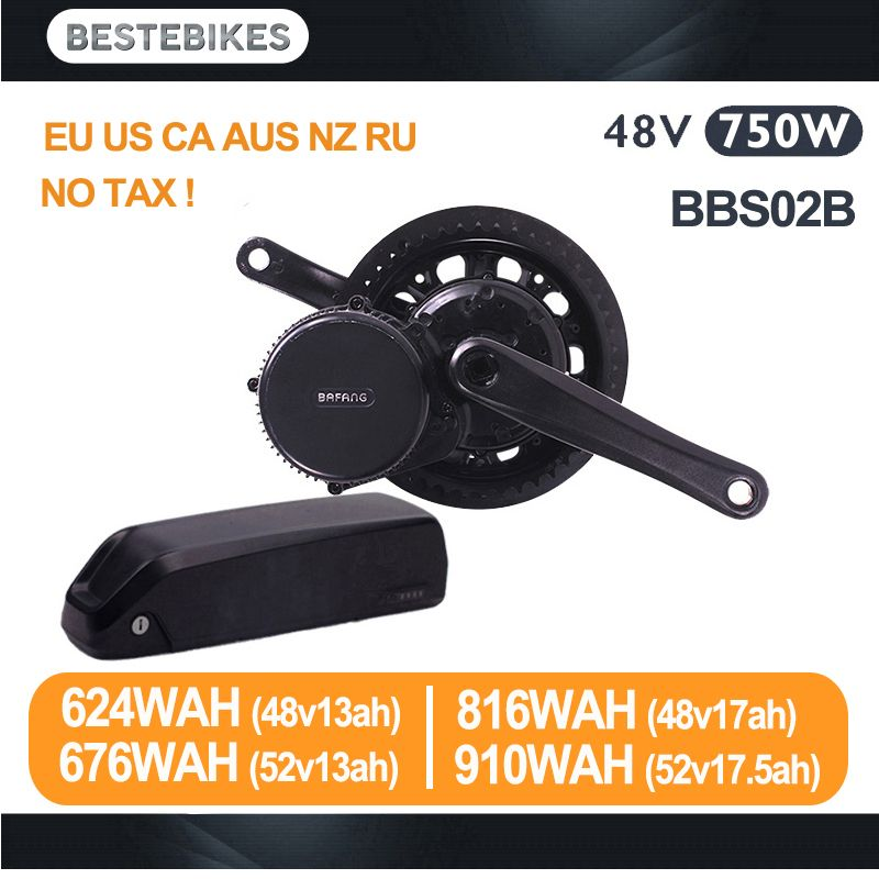 Bafang motor BBS02B 48V 750w electric bike conversion kit batterie velo 48v battery BBS02 48v13/17ah 52v13/17.5ah EU US NO Tax