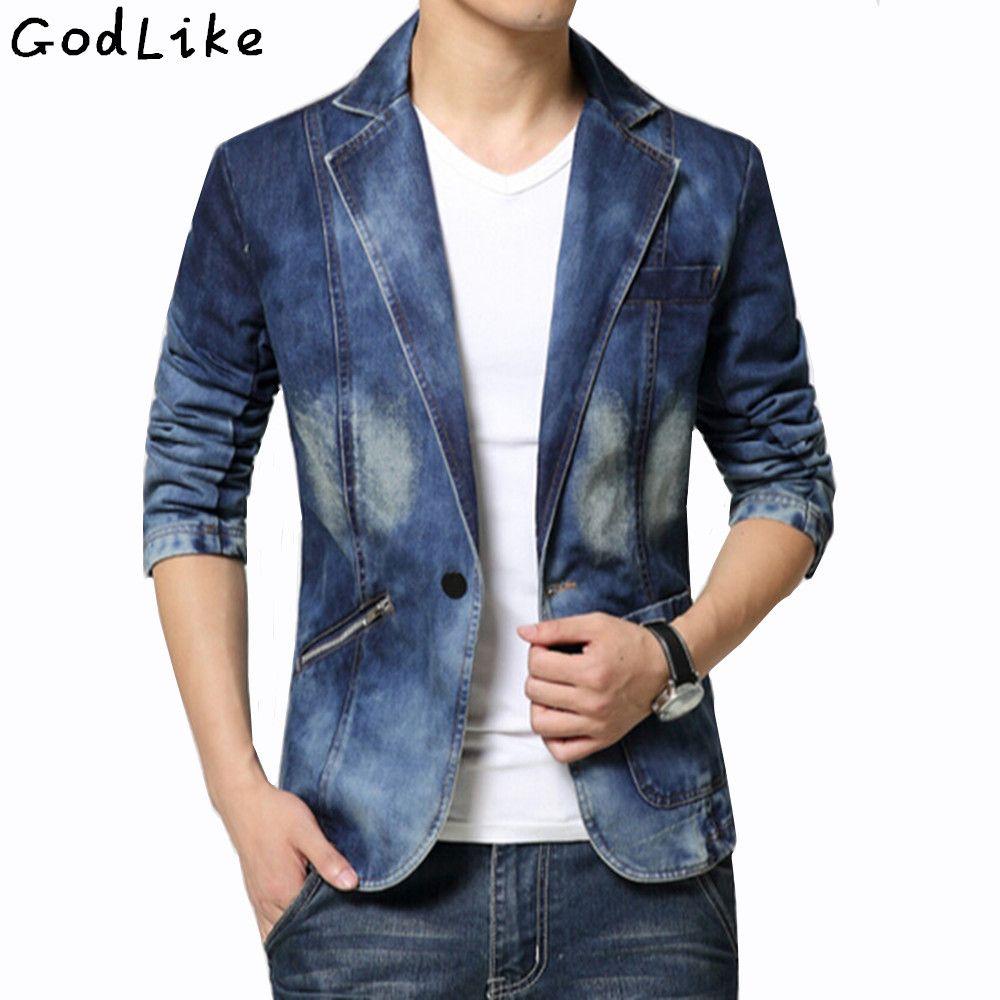 New 2017 Spring Fashion Brand Male Jean Blazer Mens Trend Suits Casual One Button Jean Slim Fit Denim Jacket Suit Plus Size 4XL