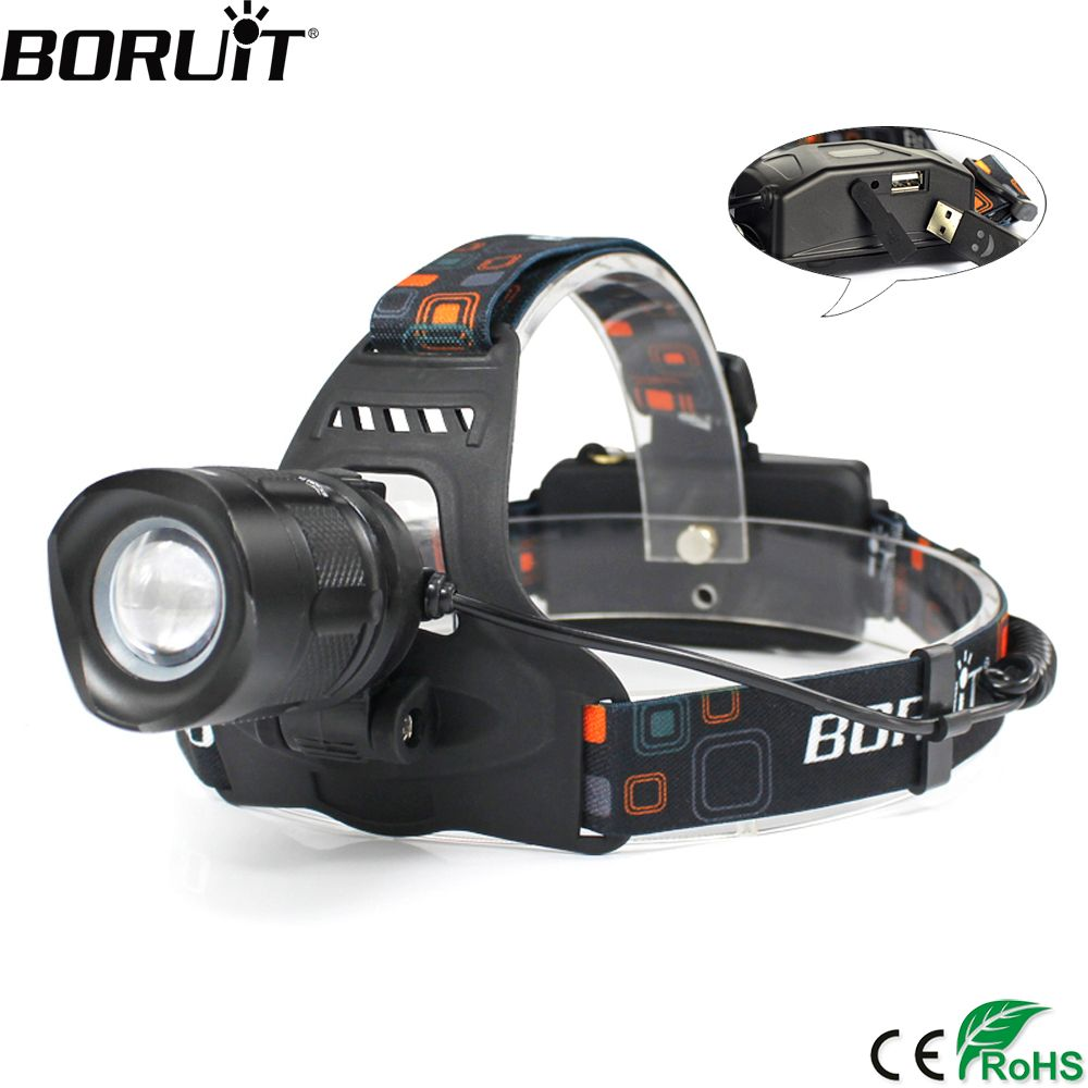BORUiT RJ-2157 XML-L2 LED Headlamp 5-Mode Zoom Headlight POWER BANK Head Torch Camping Hunting Flashlight by 18650 Battery