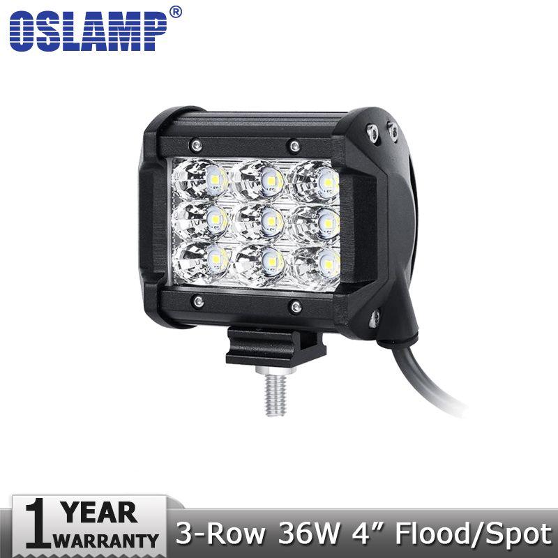 Oslamp 36W 4inch Spot Flood Beam LED Work Lights 12v 24v Trucks SUV ATV UTV 4WD 4X4 Led Bar Offroad Driving Headlights Work Lamp