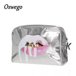 2018 Fashion Bling Bling Silver Lip PU Leather Toiletries Bag Zipper Storage Pouch Portable Women Travel Cosmetic Bag Kosmetikum