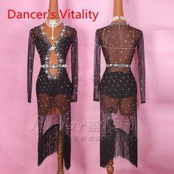 Latin Wanita Diamond V Kerah Terbuka Lengan Panjang Salsa Tango Rumba Flamengo Ballroom Latin Kompetisi Tari Kostum