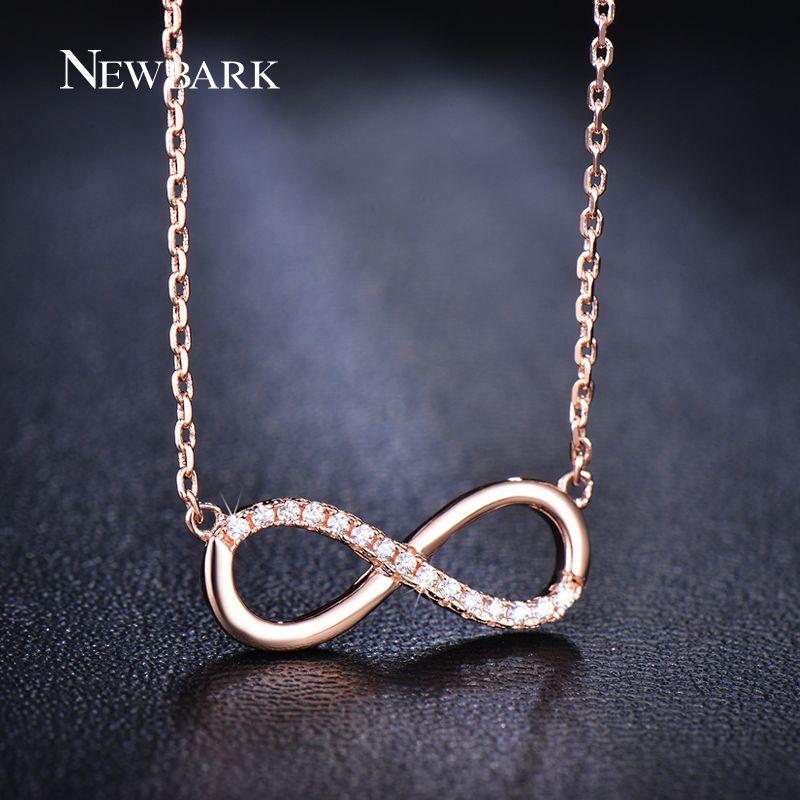 NEWBARK Romantique Nombre Infini 8 Pendentif Collier Avec Minuscule Cubique Zircone Or Rose Couleur Mode Bijoux Pour Les Femmes