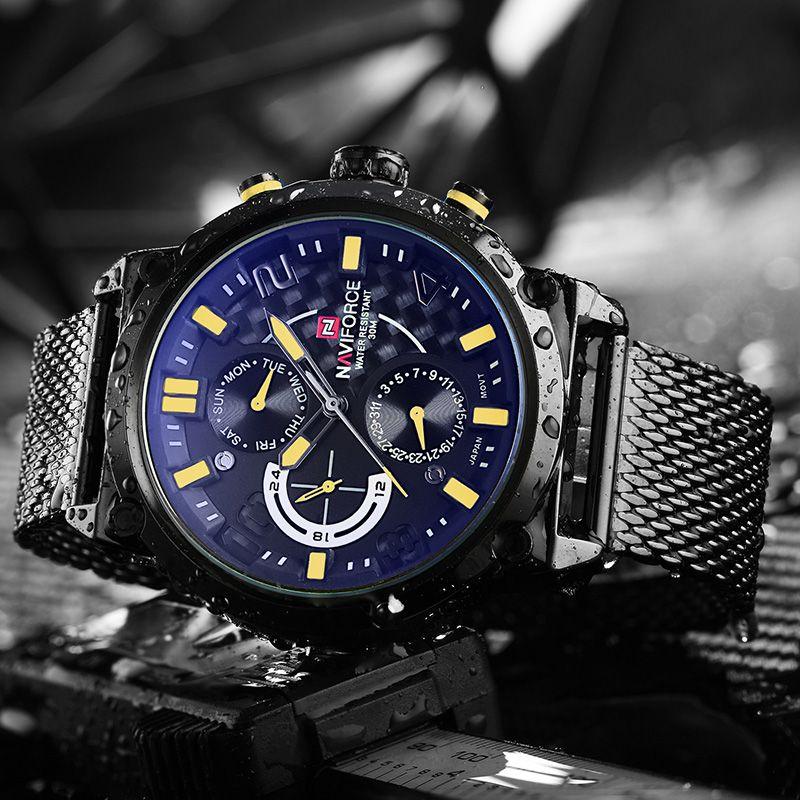 Naviforce Luxusmarke Männer Edelstahl Analog Uhren herren Quarz 24 Stunden Datum Clock Mann Mode Lässig Sport Wirst uhr