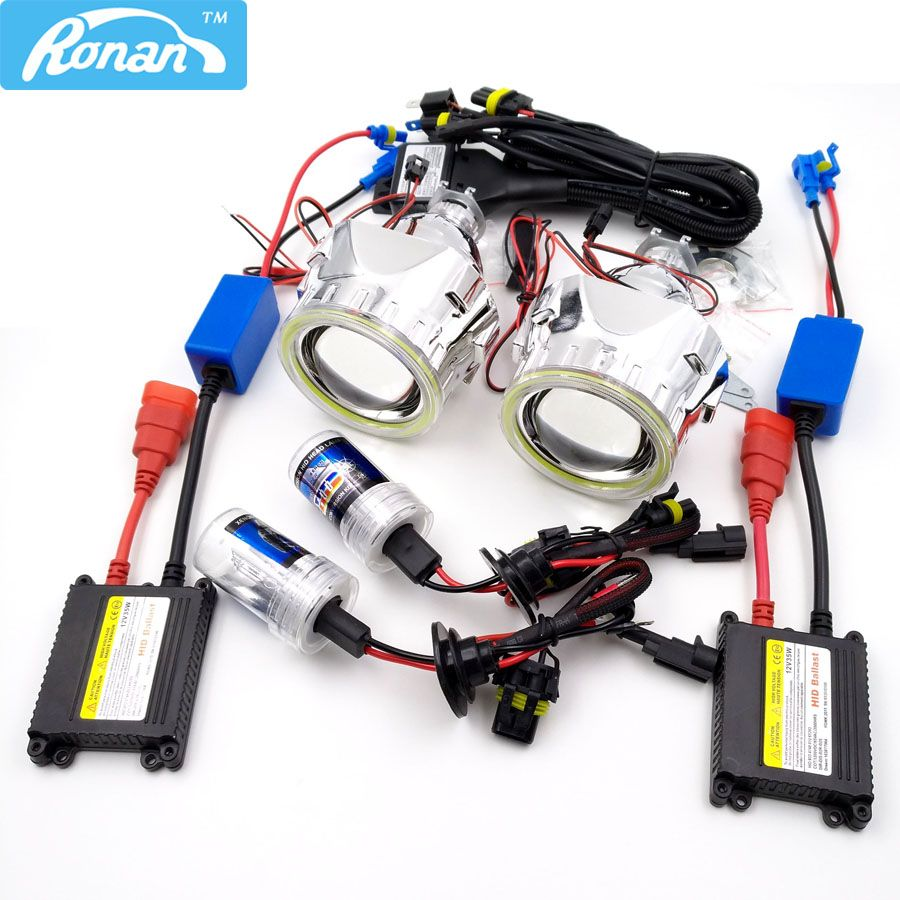 RONAN Bixenon T styling Projector Lens H1 80MM COB angel eyes Relay wire car headlamp CNlight AC Slim ballast retrofit H4 H7 car