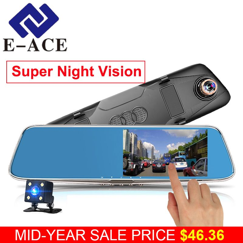 E-ACE Car Dvr Full HD 1080P Video Recorder Automotive Rear View Mirror With DVR And Camera Car Detector Camcorder Dual Dash Cam