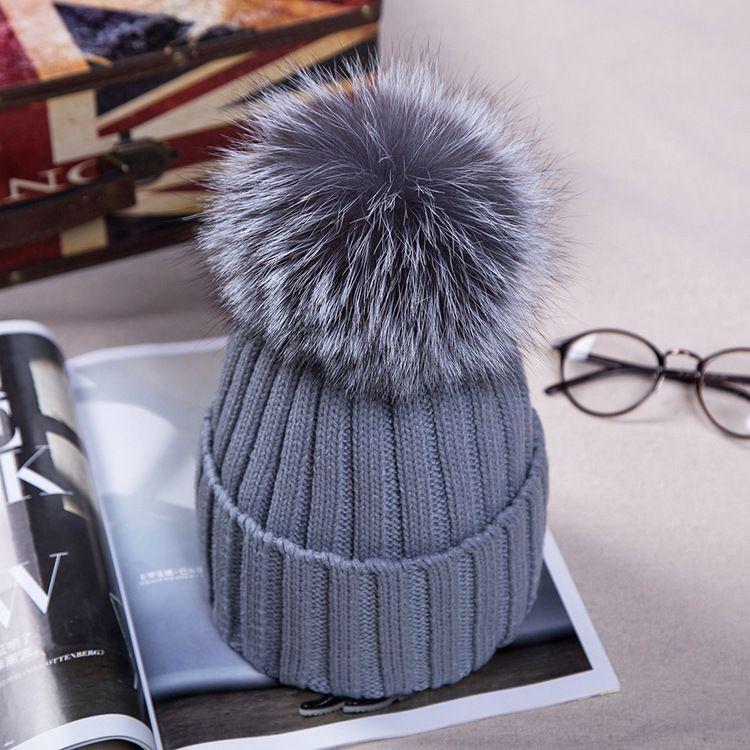 2016 New fashion Herbst Winter Frauen Kappe Fuchspelz Ball Hut Pom Poms 15 CM Kappe Weiblichen Warme Mützen Häkeln Beanie Hüte Caps