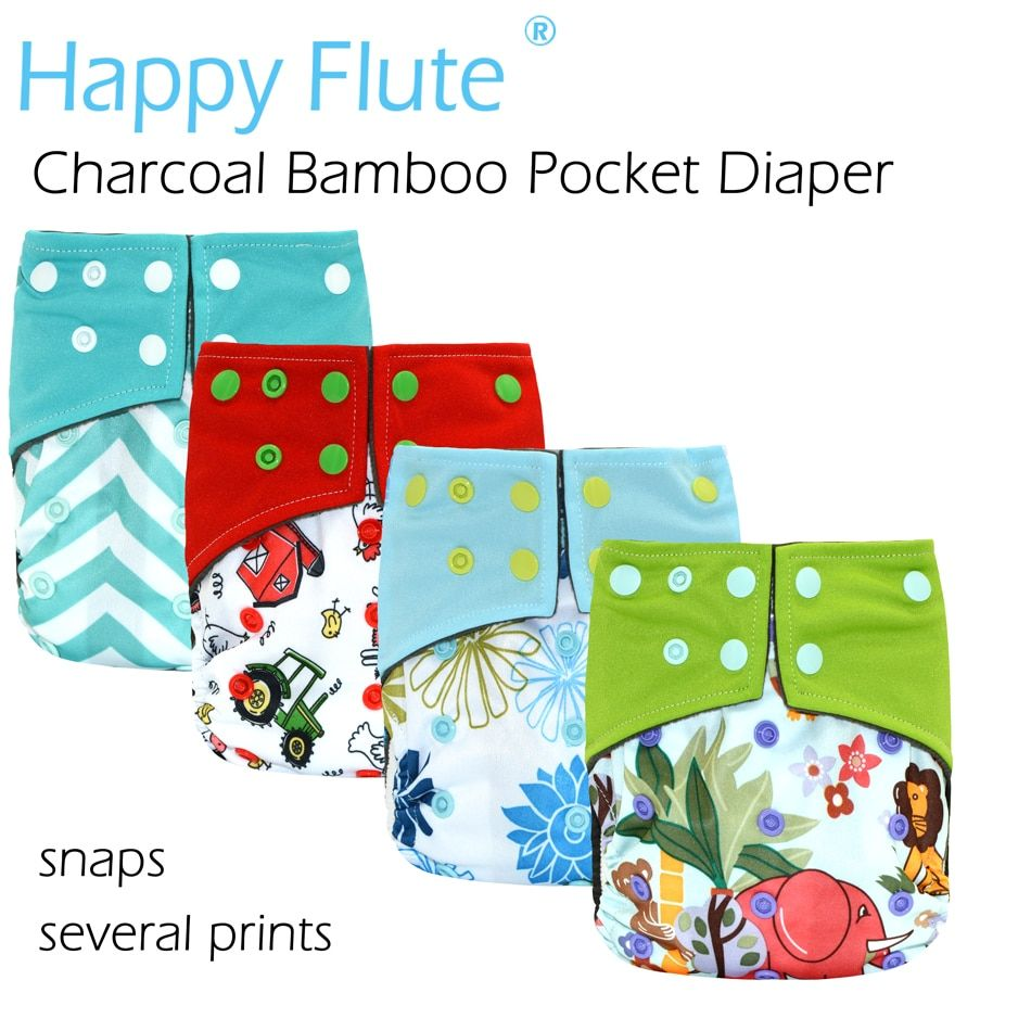 HappyFlute Waterproof and Adjustable Charcoal Bamboo Pocket Cloth Diaper with double leaking guards
