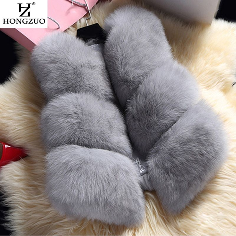 HONGZUO New 2017 Winter Women's Thick Warm Faux Fox Fur Vest High Quality Fashion O-Neck Short Fur Coat For Women Outwear PC038