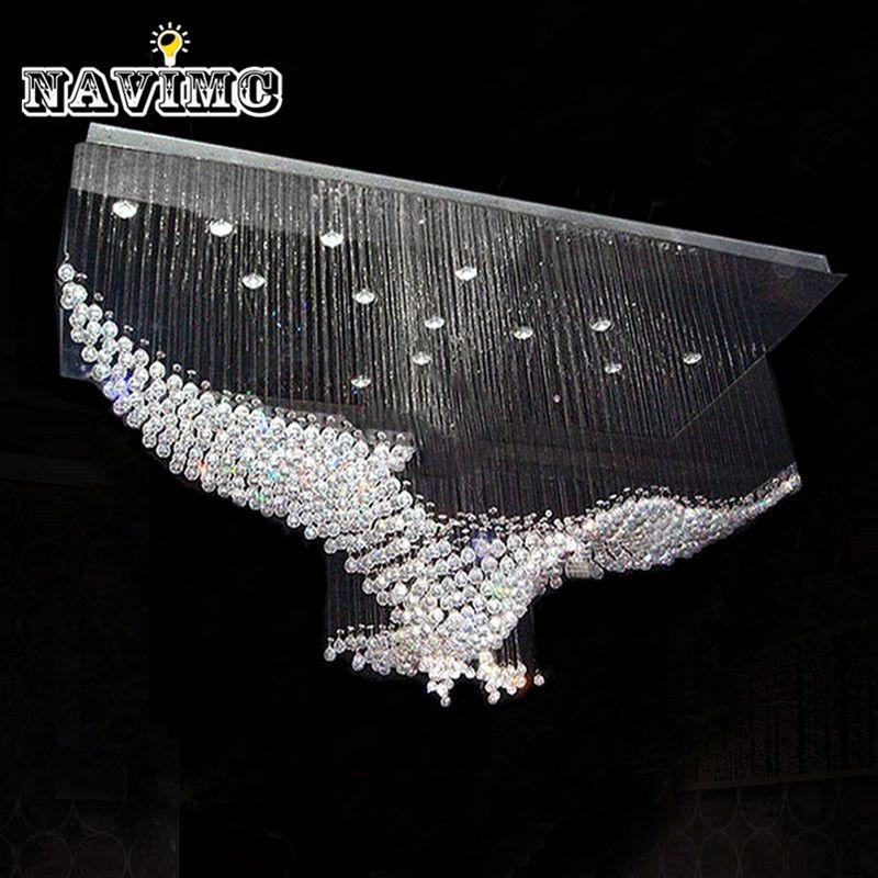 New Eagles Design Luxury Modern Crystal Chandelier Lighting Lustre Hall LED Lights Cristal Lamp L100*W55*H80cm 110v-220v