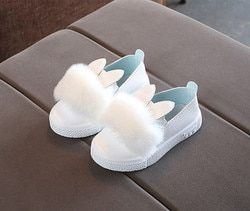 MUQGEW bebé lindo de los niños del oído de conejo pompom zapatos para niños zapatos de cuero individuales # XTN