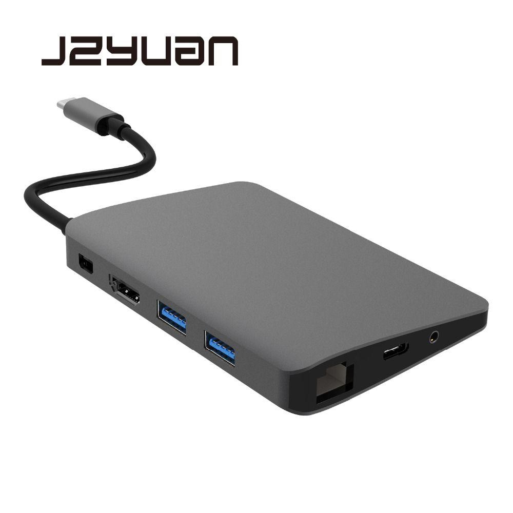 USB C Type C Laptop Docking Station For Macbook USB C to HDMI Mini DP 4K RJ45 Ethernet USB 3.0 Audio 3.5mm Type C Charging Dock