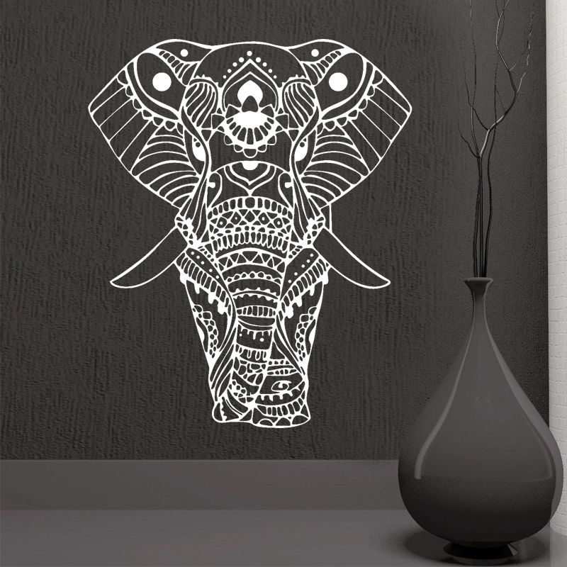 ROWNOCEAN Mandala Yoga Ornement Indien Bouddha Dieu Éléphant Stickers Muraux Home Decor Art Salon Vinyle Murale Amovible M613