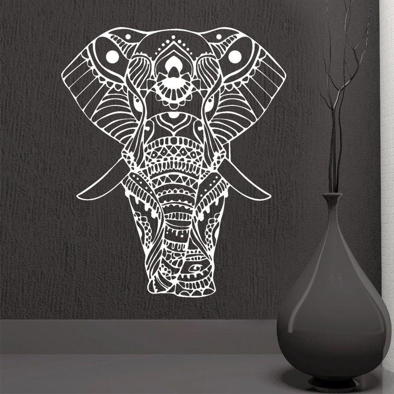 ROWNOCEAN Mandala Yoga ornement indien bouddha dieu éléphant Stickers muraux décor à la maison Art salon vinyle Mural amovible M613