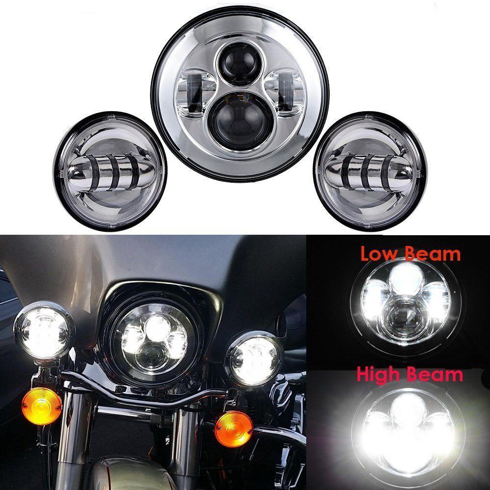 7INCH Chrome Harley Daymaker LED Headlight + 4 1/2'' fog light passing lamps for Motorcycle Harley Davidson