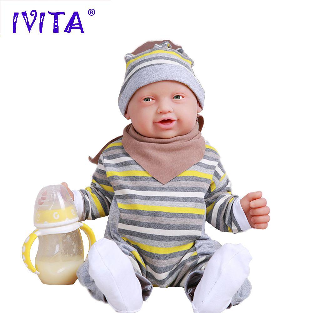IVITA WB1513 59 cm 5210g Echt Weichem Silikon Reborn Baby Boy Augen Geöffnet Puppe Neugeborenen Lebendig Lachen Babys Spielzeug für Kinder