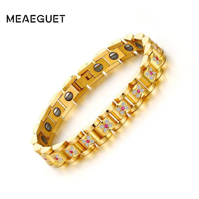 Meaeguet Luxury Paved Inlay Cubic Zirconia Health Hematite Bracelet For Women Bio Energy Bracelet