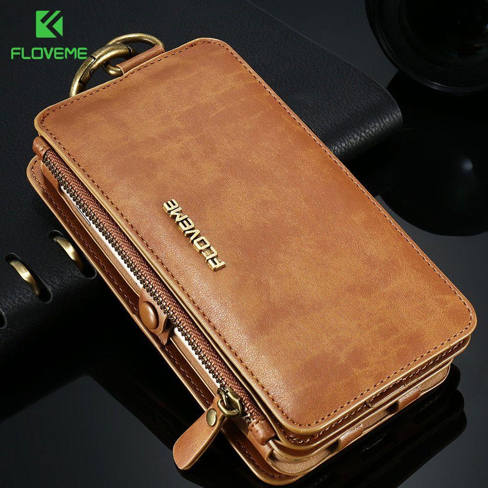 FLOVEME portefeuille de luxe rétro pour téléphone étui pour iPhone 7 7 Plus XS MAX XR sac à main en cuir sac couverture pour iPhone X 7 8 6 s 5 S Coque
