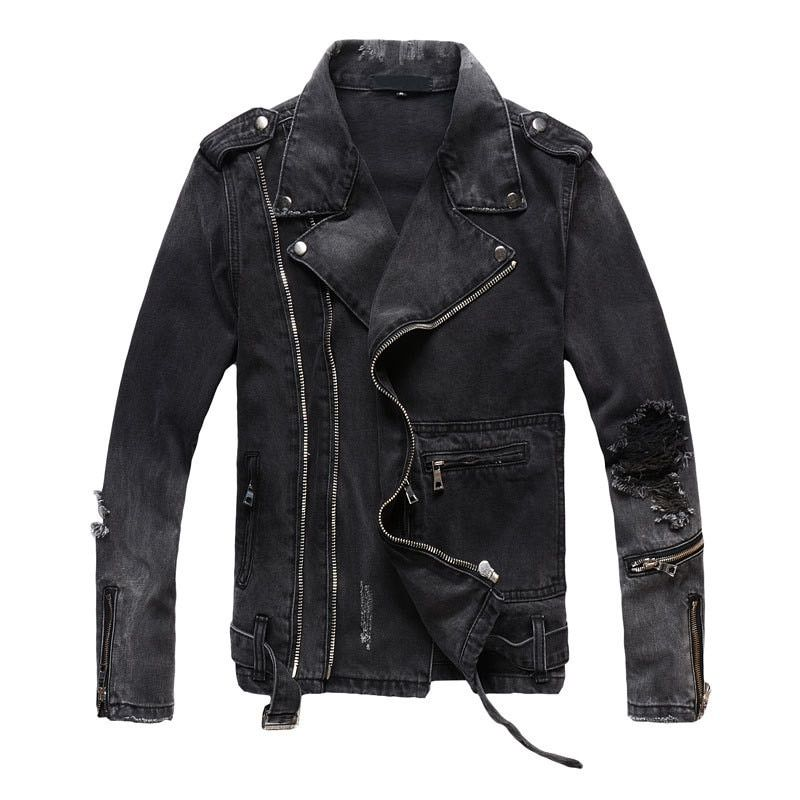 MORUANCLE New Fashion Hi Street Mens Ripped Denim Jackets With Multi Zippers Streetwear Distressed Motorcycle Biker Jeans Jacket