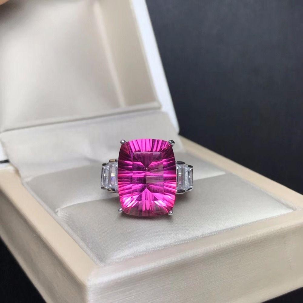 8 carat natürliche pulver topaz ring, große edelstein farbe, exquisite verarbeitung, 925 silber inlay