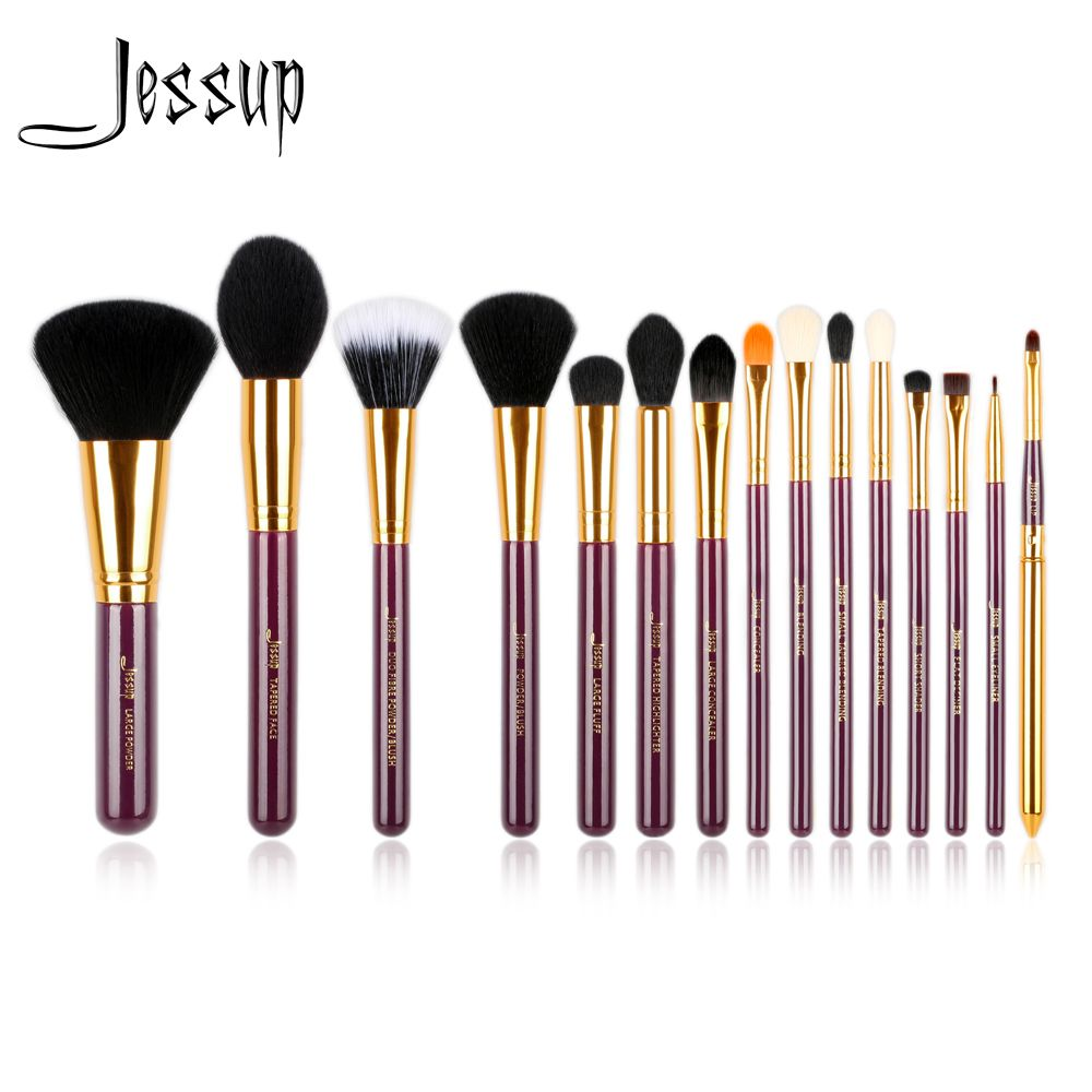 Jessup Pro 15pcs Makeup Brushes Set Powder Foundation Eyeshadow Eyeliner Lip Brush Tool Purple and Gold Cosmetics tools