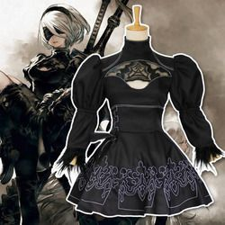 Chinese Size Nier Automata 2B Cosplay Anime Women Costume Set Outfit Yorha Disguise Dress Fancy Halloween Girls Party Black Suit