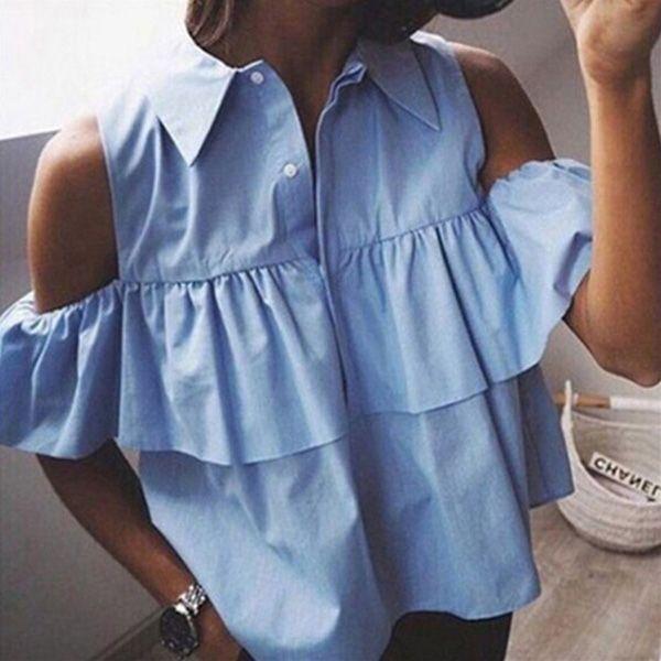 Fashion Women Girls Sweet Casual Blousa Top Off Shoulder Summer Short Sleeve Turn Down Collar Solid Ruffles Top Blouse Shirt