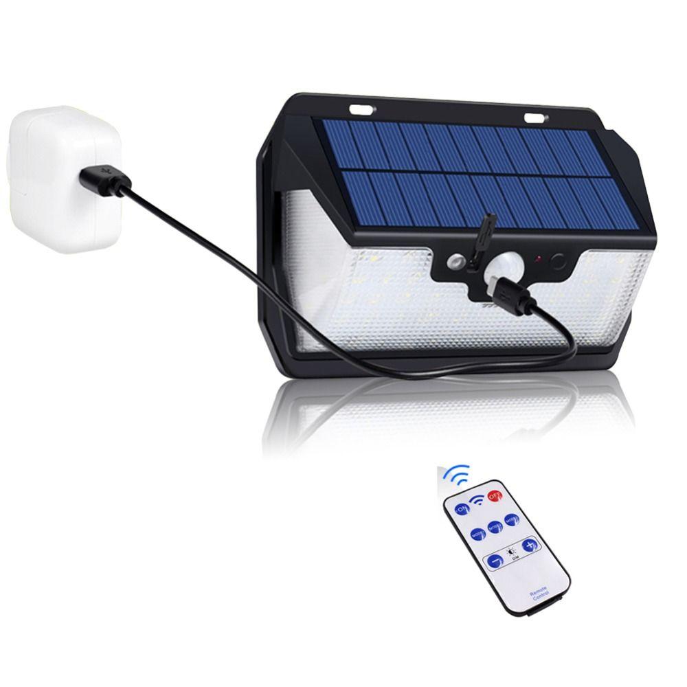 1000lm lumière solaire imperméable de jardin 55LED solaire alimenté USB chargeant la télécommande extérieure de lampe de sécurité de réverbère de cour