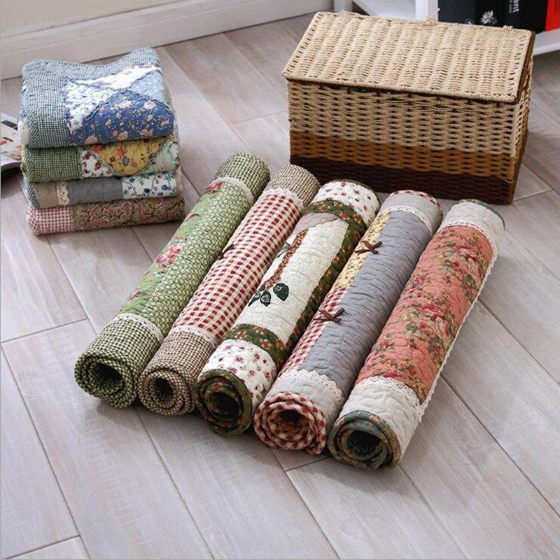 Pa. an coton Quilting tapis de sol cousu à la main Patchwork tapis pastorale scénique antidérapant salon couloir porte tapis personnalisable