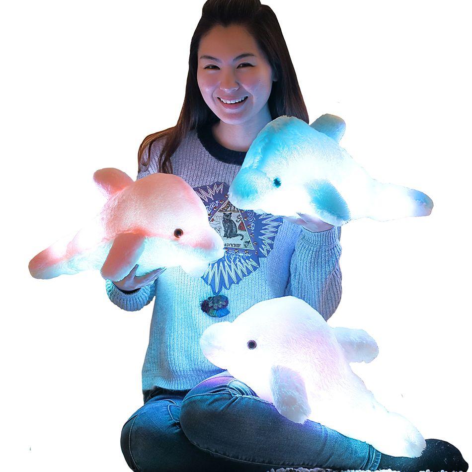 45 cm Creativo Luminosa Delfín de Peluche Muñeca Almohada Brillante, Luz LED Juguetes y Animales de Peluche Colorido de la Muñeca de Los Niños Embroma el Regalo WJ453