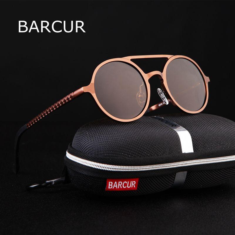 BARCUR Retro Aluminum Magnesium Sunglasses Polarized <font><b>Vintage</b></font> Eyewear Accessories Women Sun Glasses Driving Men Round Sunglasses