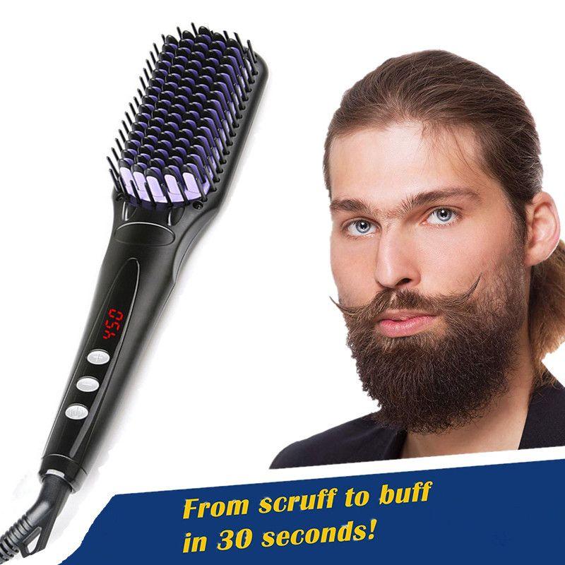 2.0 Hair Straightener Brush Anti Static Ceramic Heating Detangling Faster Straightening Beard Comb For Man Beard Straightener