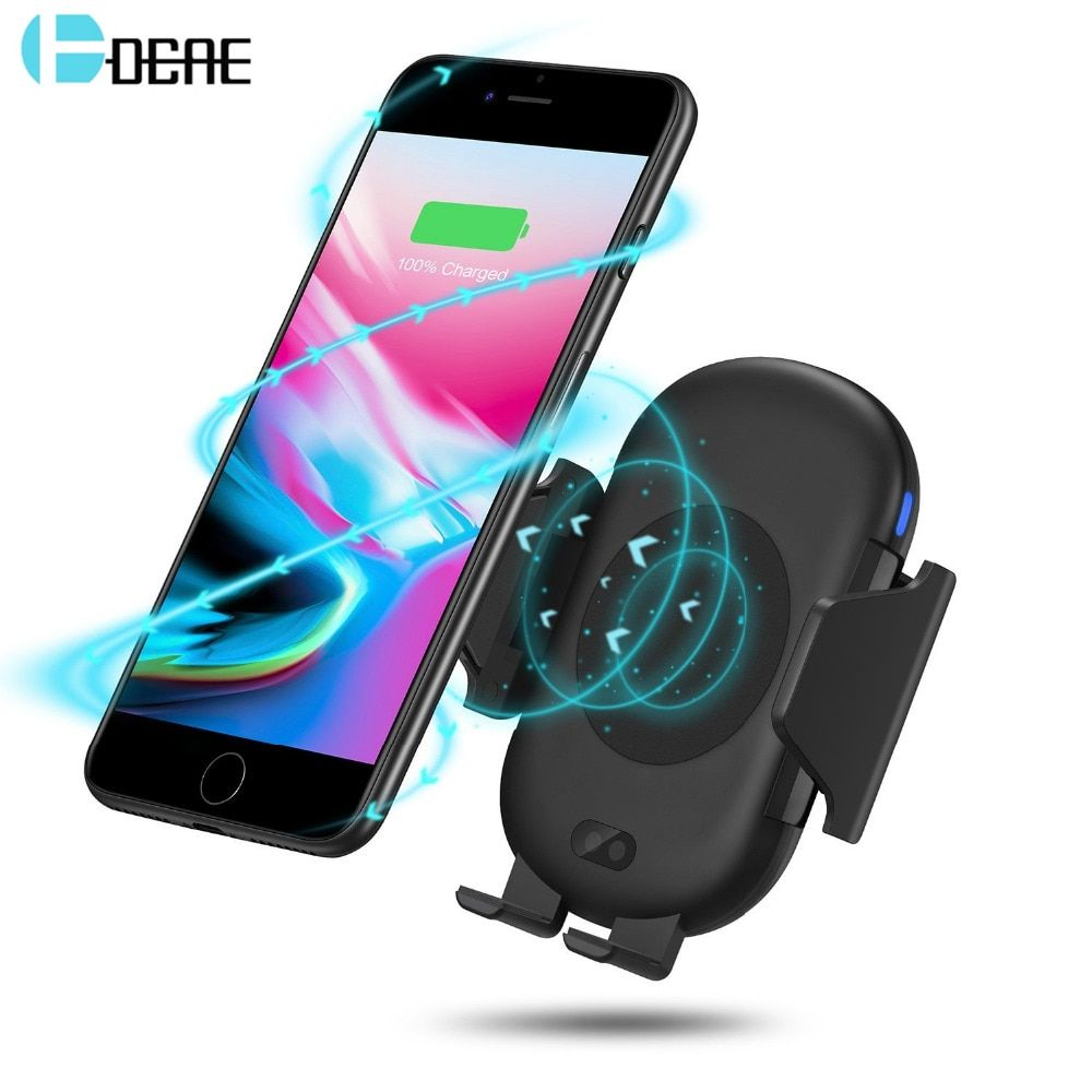 DCAE Infrared Sensor Car Holder Automatic Wireless Charger For iphone XS X 8 Plus Samsung S8 S9 Air Vent Mount QI Fast Charging
