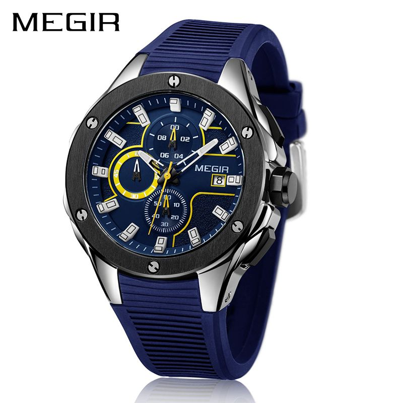 Top Brand Luxury MEGIR Men Sport Watch Chronograph Silicone Strap Quartz Military Big Dial Watches Clock Male Relogio Masculino