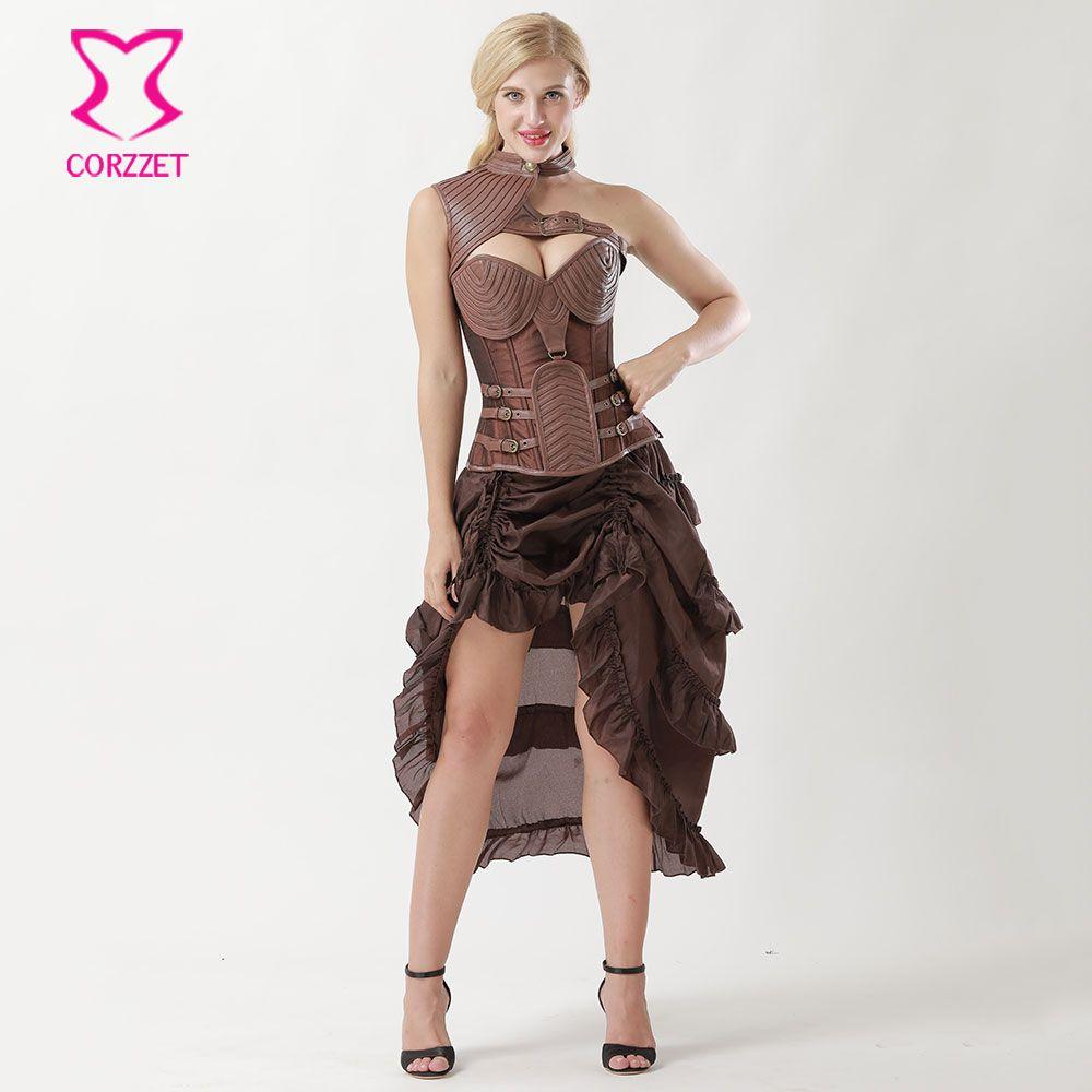 Brown Leather Armor Corpetes E Espartilhos Plus Size Gothic Clothing Vintage Corset Dresses Corsets And Bustiers Steampunk Dress