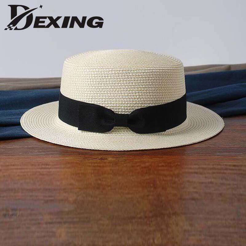 wholesale sun flat straw hat boater hat girls  bow summer Hats For Women Beach flat  panama straw hat chapeau femme
