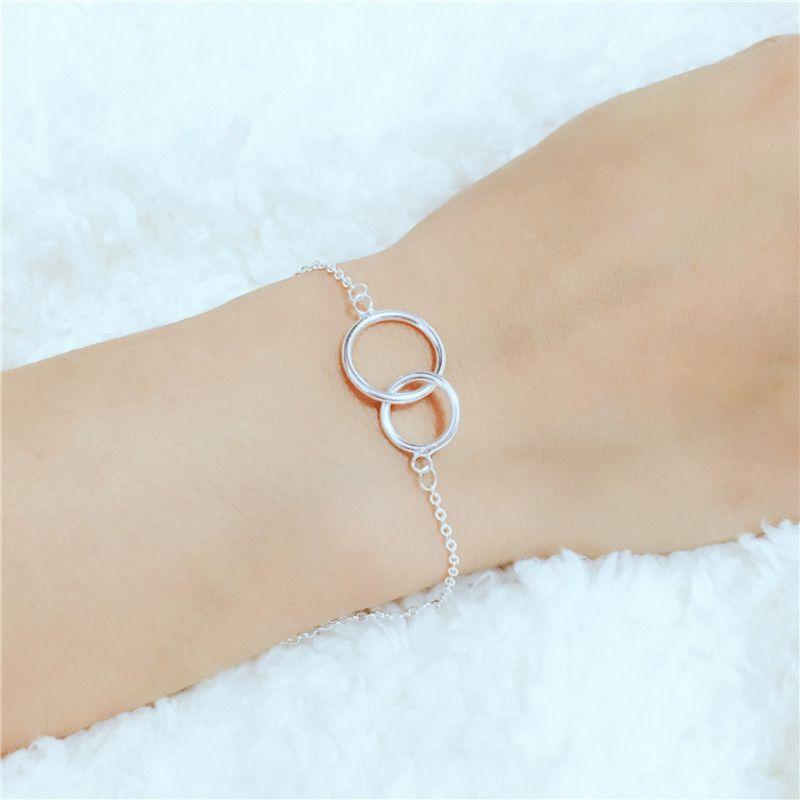 925 argent Sterling Double cercle rond bracelets pour femme Original Style Simple dame prévenir l'allergie Sterling-argent-bijoux