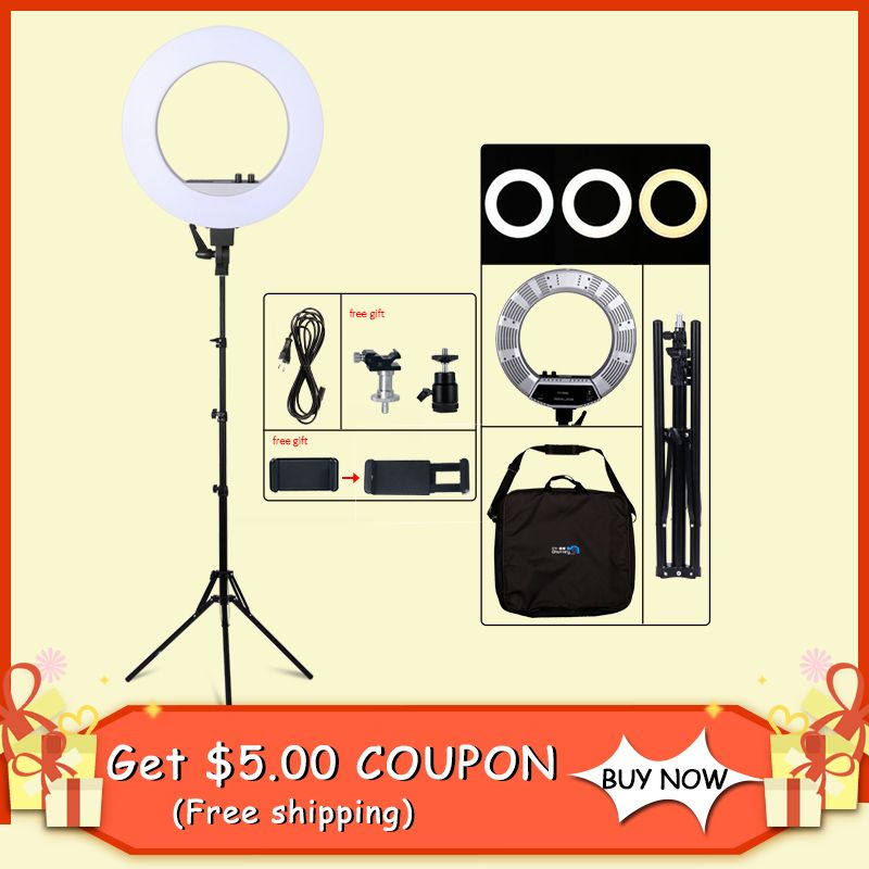 18inch LED Photography Light 50W 480PCS LED Ring Light Bi-color 3200K-5600K Photo Studio Video Makeup Lamp With Tripod Stand