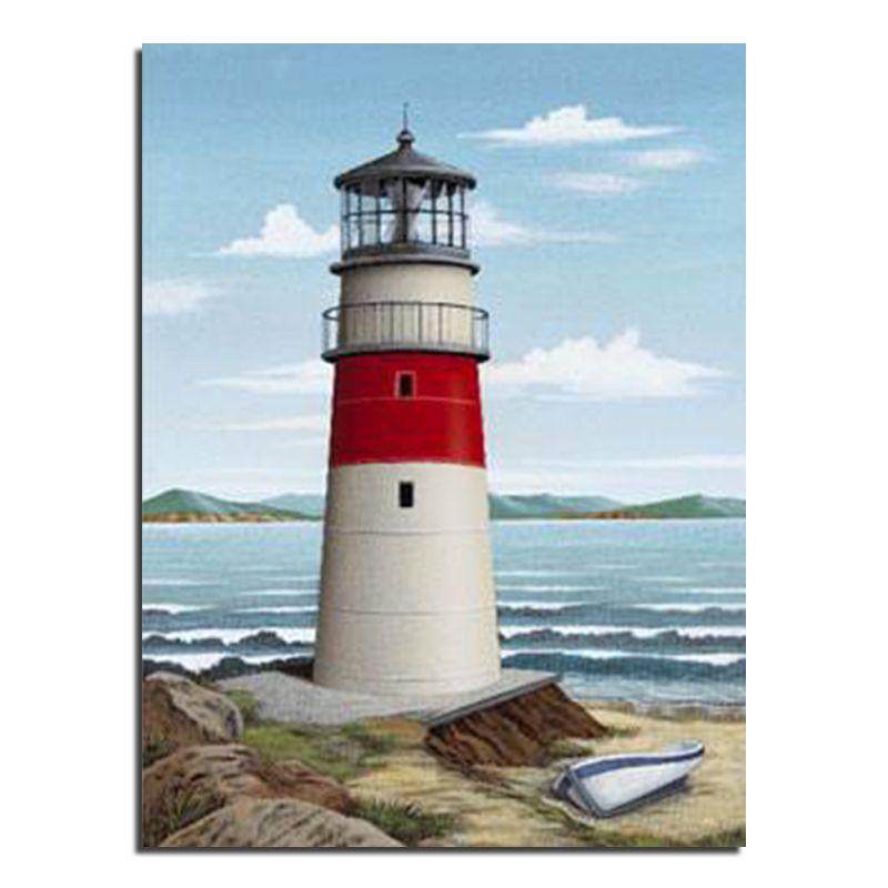 Sea lighthouse 30x40 Wholesale DIY Diamond Painting Home Decoration Rhinestone Wall <font><b>Stickers</b></font> Embroidery Needlework