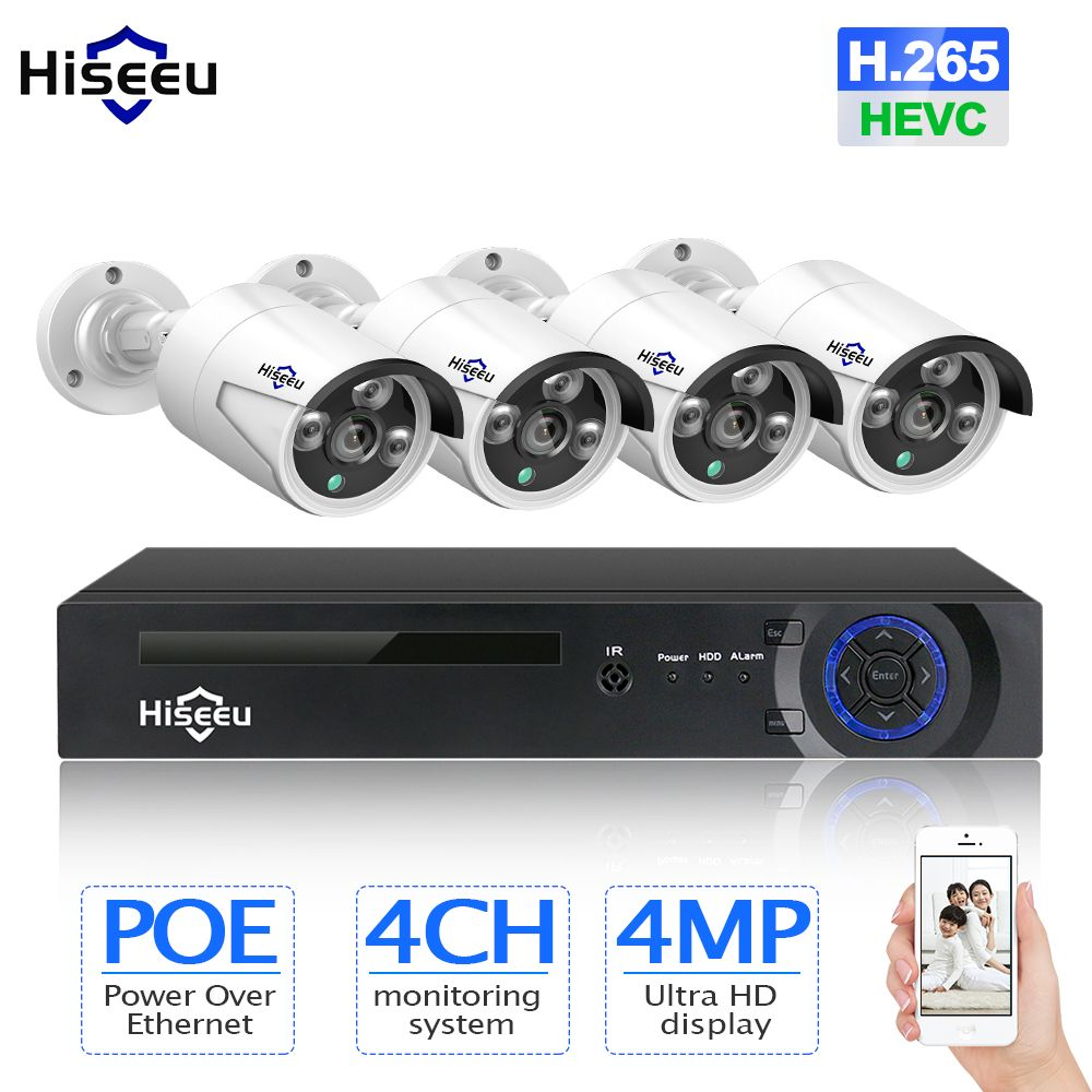 Hiseeu H.265 CCTV System POE NVR Kit 8CH 4MP Waterproof POE IP Camera Bullet Home Security Camera System Outdoor low lux Onvif